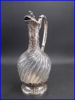 Tres Belle Aiguiere En Argent Massif Poincon Minerve Et Cristal Decor Louis XV