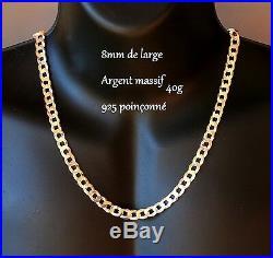 Très Grosse Chaine large Pour Homme En Argent Massif Poinçon 925 neuve 55cm