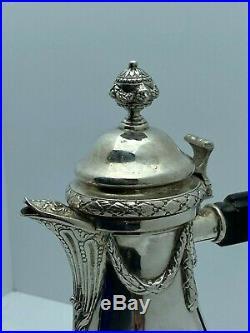 Verseuse tripode Rocaille style Louis XVI, argent massif, poinçons illisibles